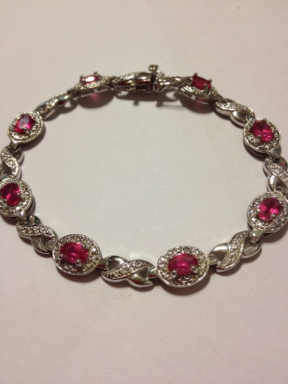 "Pink Sapphire Sterling Bracelet Kay Jewelers 7 5"" Silver 925 Vintage 80s"