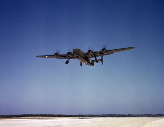 Consolidated C-87 Liberator aircraft (cargo variant of the B-24) taking off on a training flight in Ft. Worth, Texas, 1942.