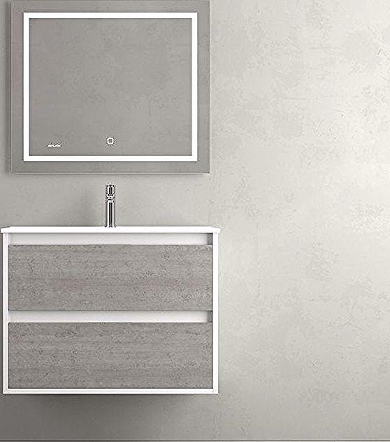 Meuble Zao 2c 100 Cemento Lav Led Carre Duplach In 2020 Lighted Bathroom Mirror Bathroom Lighting Mirror