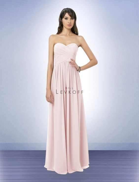 Bridesmaid Dress Style 778 - Petal Pink  Chiffon strapless gown with a sweetheart neckline. Criss cross ruched bodice. Soft gathers all around the skirt add fullness and swing.  http://www.billlevkoff.com/style/bridesmaid-dress/778