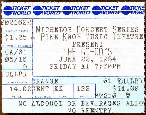 the go gos 1984 concert ticket stub at pine knob theatre ex cond