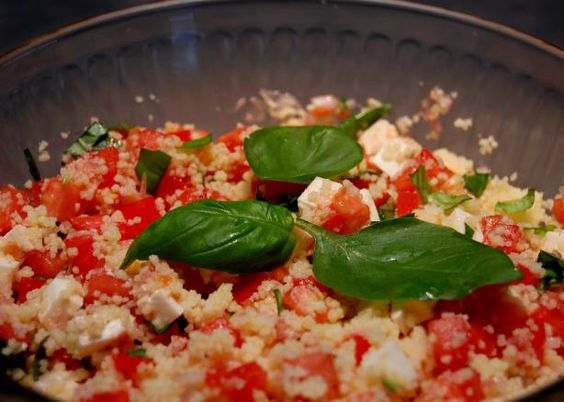 Fresh Mozzarella, Tomato, and Basil Couscous Salad. Photo by Fearless Baker