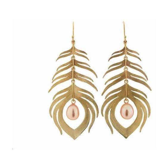 Long Peacock Feather Earrings