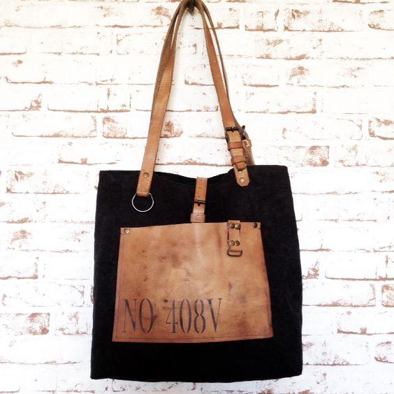 Grans sac à main vintage entièrement façonné à la mainToile coton et lin noire