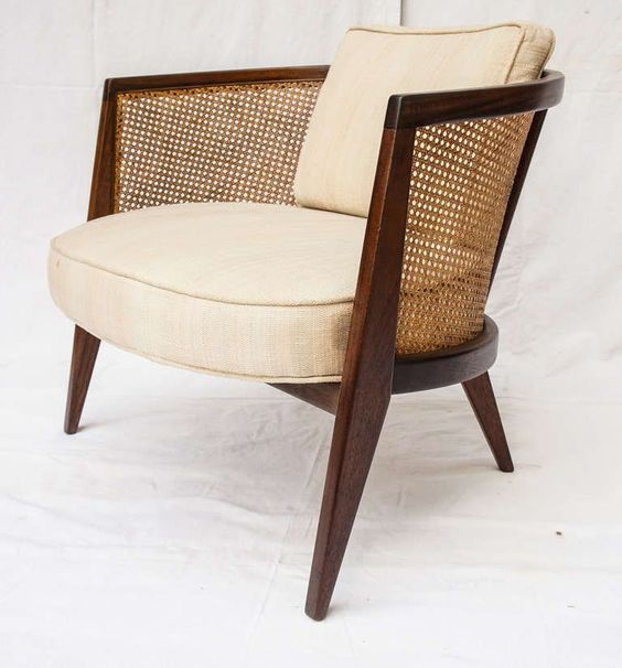 Pair of mid century harvey probber walnut and cane hoop for Mid century modern armchairs