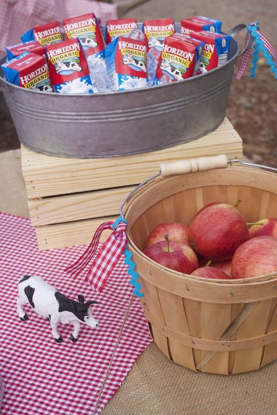 Snacks at a farm birthday party! See more party ideas at CatchMyParty.com!