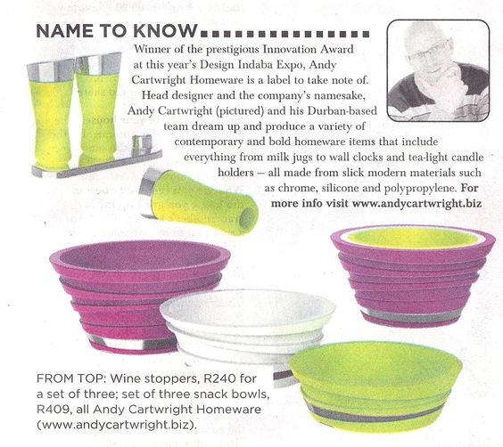 Sunday Times - April 2012  We dream up and produce a variety of contemporary and bold homeware items.