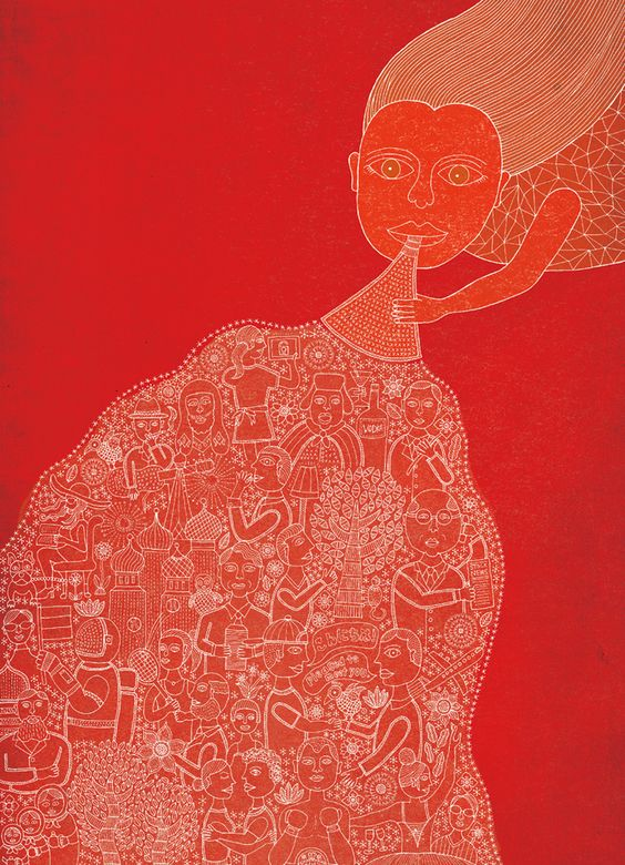 TAKAHISA HASHIMOTO-ILLUSTRATIONS | Woman in red blowing a horn