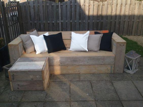 Loungebank steigerhout garden pinterest tuin and diy for Loungebank steigerhout