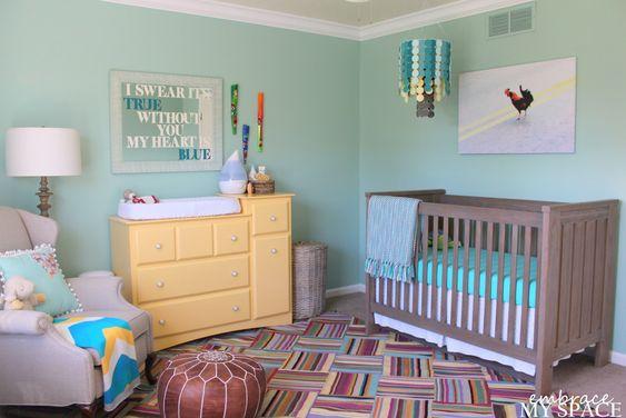 Turquoise Gender Neutral Nursery: Wall Colors, Colorful Gender, Baby Fever, Nursery Ideas, Baby Nursery, Baby Rooms, Kid