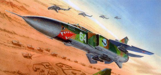 Soviet Mikoyan-Gurevich MiG-23 jet fighter on bombing run in Afghanistan:
