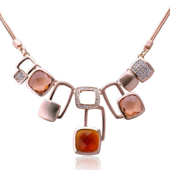 Fashion Dangle Square Multi CZ Necklace for Women