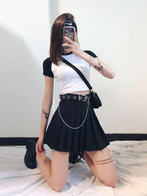 Harajuku Goth Tennis Skirt Belt C00176 C00126 Tennis Skirt Outfit Cute Skirt Outfits Tennis Skirt