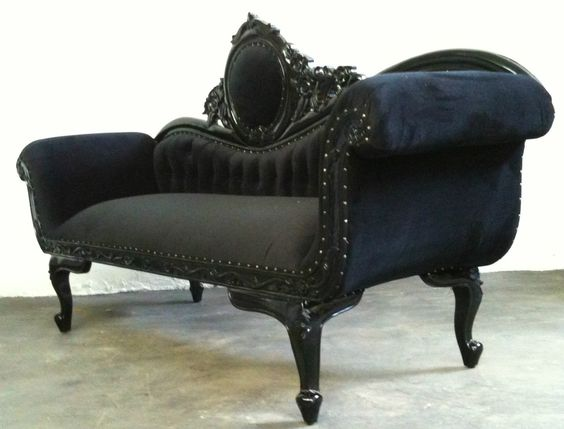 Black couches couch and blue velvet couch on pinterest for Black velvet chaise lounge