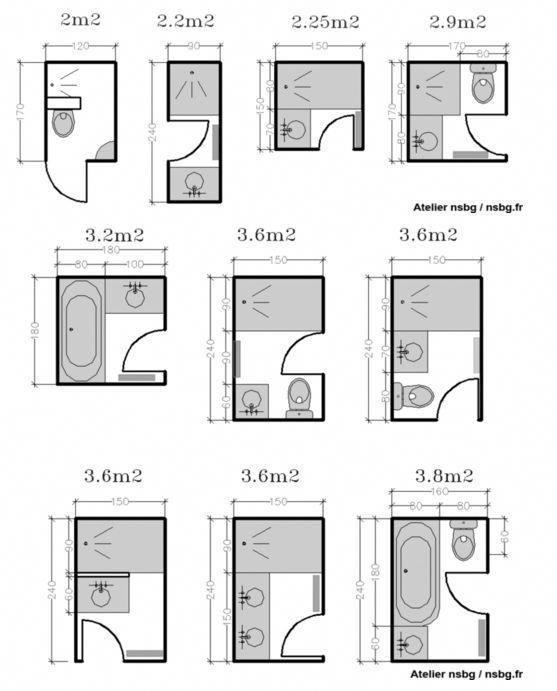 Les Petites Salles De Bains 2 3 M En 2020 Avec Images Plan Salle De Bain Salle De Bain 3m2 Disposition De Petites Salle De Bains