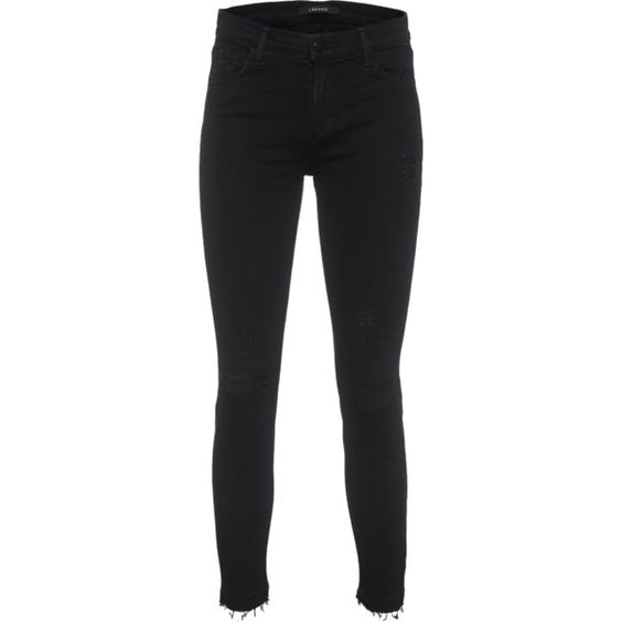 J BRAND 835 Capri Mid Rise Exposure // Jeansy capri w stylu used (2.350 NOK) ❤ liked on Polyvore featuring jeans, black distressed jeans, black jeans, destroyed jeans, cut-off y cuffed jeans