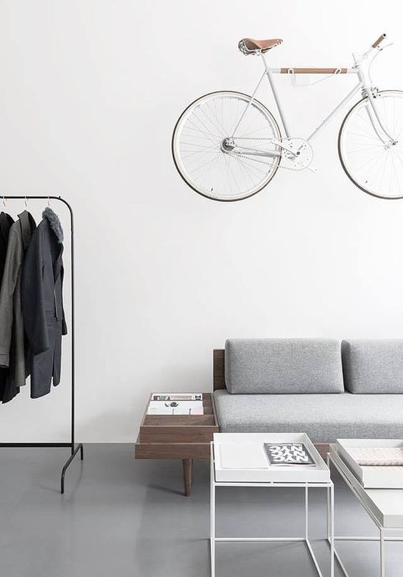 bike hanging up as decoration