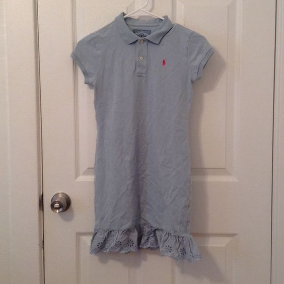 Ralph Lauren Girl's eyelet polo dress Girls size large (12-14). Sky blue with hot pink Polo logo. Eyelet ruffle. 97% cotton and 2% elastane. In excellent condition. Feel free to ask me any questions😊 Ralph Lauren Dresses Casual