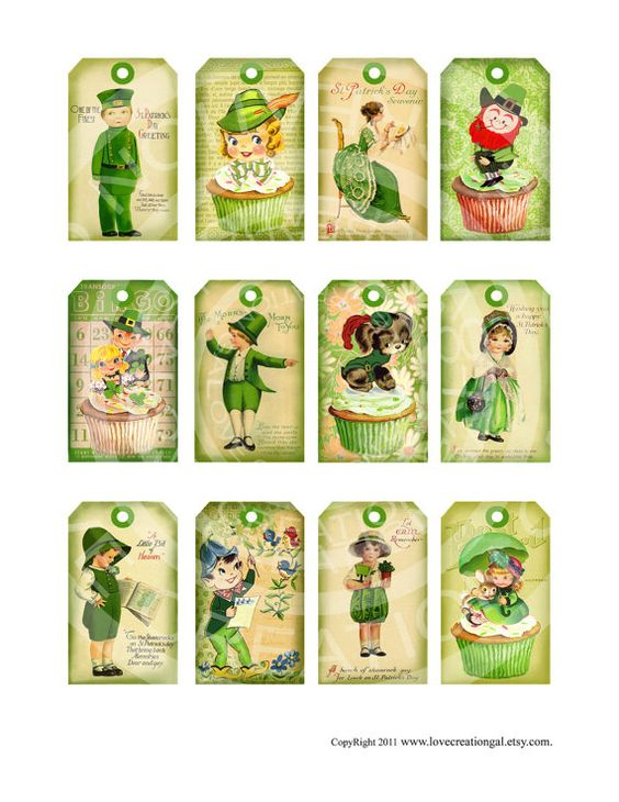 Vintage Shabby St Patricks Day Green Tree tea Party Irish Easter Boys Girls gift tags Greeting card Digital Collage Sheet Images By: lovecreationgal