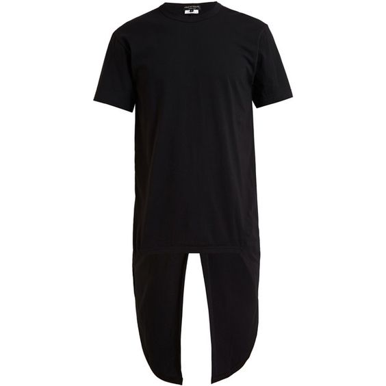 COMME DES GARÇONS HOMME PLUS T-shirt with Tailcoat ($220) ❤ liked on Polyvore featuring men's fashion, men's clothing, men's shirts, men's t-shirts, mens cotton t shirts, mens longline t shirt, mens cotton shirts, mens black and white striped t shirt and mens black and white shirt