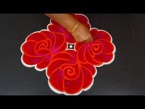 Simple Rose Kolam For Pongal And Bhogi With 8x2 Dots Rangoli For Margazhi Sankranthi Mugggulu Youtub In 2020 Rangoli Designs Flower Rangoli With Dots Simple Rose
