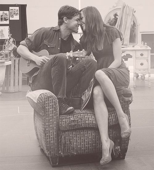 Bonnie and Clyde rehearsals. I LOVE THEM. Laura Osnes and Jeremy Jordan.