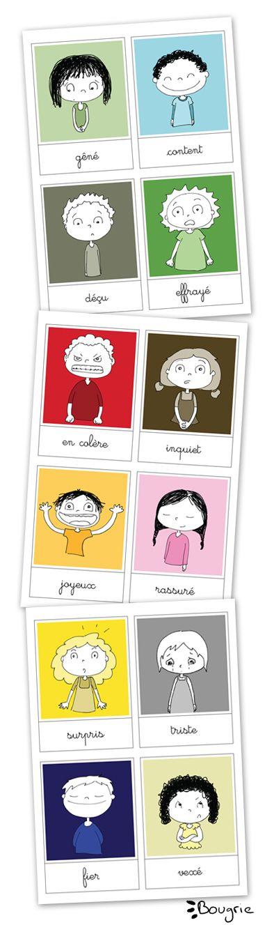 #exprimer ses #émotions http://fr http://bougribouillons.fr/ J'ai réalisé des cartes des émotions pour Mininourson, et je me suis dis que ça serait pas mal d'en faire profiter tout le monde Vous les trouverez en téléchargement gratuit >>ici<< (et si vous souhaitez donner une petite participation financière pour le temps passé et la création, n'hésitez pas à me contacter !)