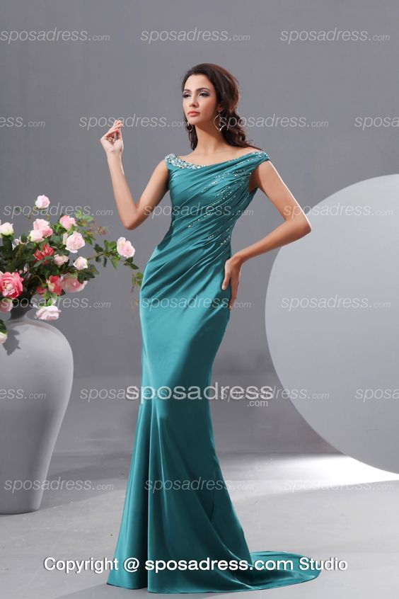 Jade Mermaid Off-the-shoulder Ruffled Women Evening Dress: