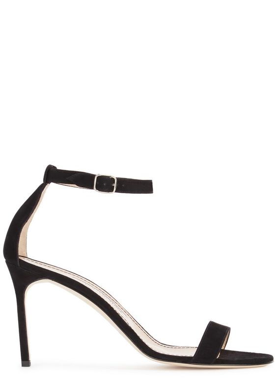 Handmade Manolo Blahnikblack suedesandals Heel measures approximately 3.5 inches/ 90mm Open toe Buckle-fastening ankle strap Come with a dust bag