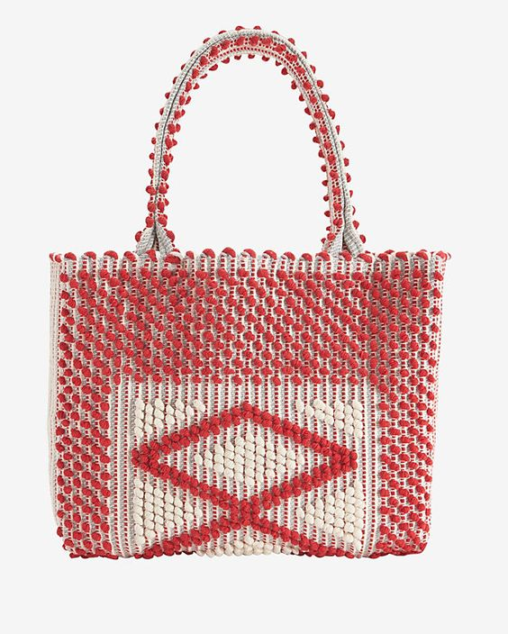 Antonello Sardinia Medium Tote: Red: The handwoven loom lends this classic carry-all a unique craftsmanship along with its functionality. Drop down pocket and magnetic tab closure. 9 straps. Measures: 13 by 18 . In red. Fabric: 100% cotton Handmade in ...