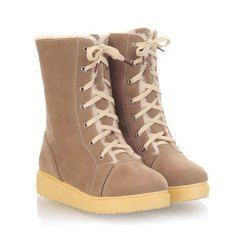 $22.58 Casual Suede Women's Combat Boots With Cute Solid Color Lace Up Design