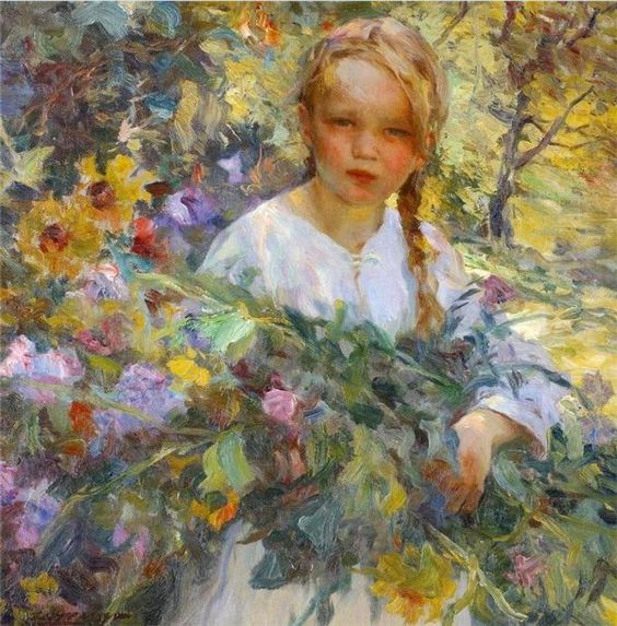 A Girl With Flowers-Luis Graner y Arrufi (1863 – 1929, Spanish)