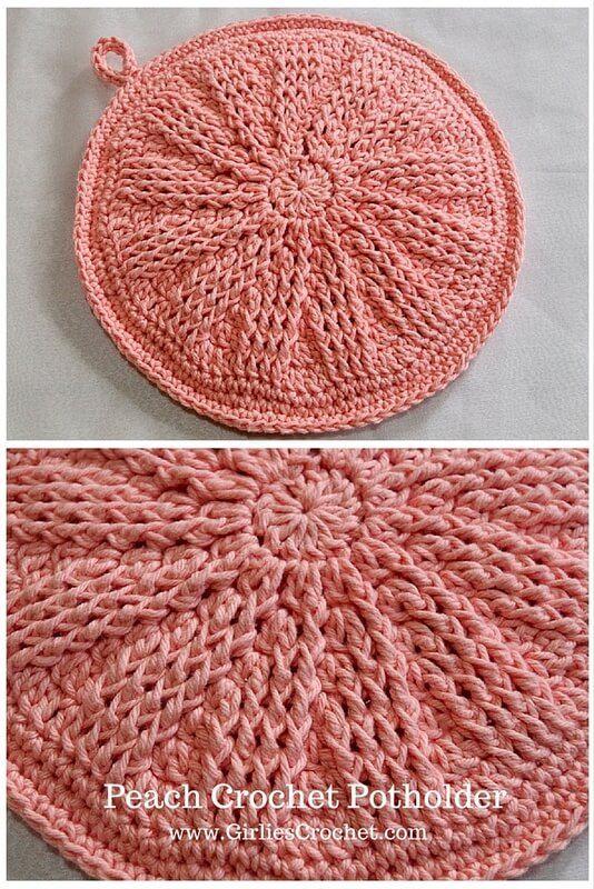 Peach Crochet Potholder Free Crochet Pattern Easy Beginners