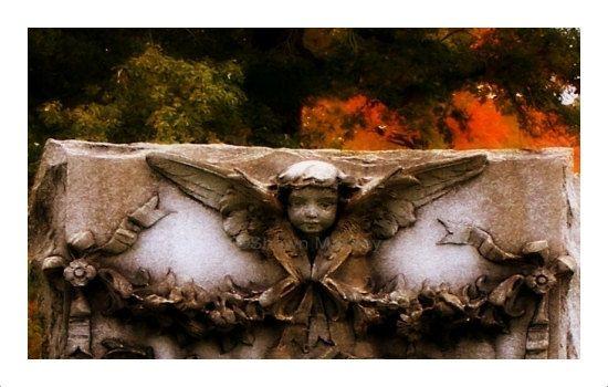 Angel Photo Card Cherub Autumn Cemetery by ShawnelizaCreations, $3.50