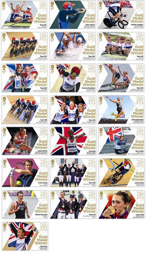 Image of team GB gold medal winners stamps