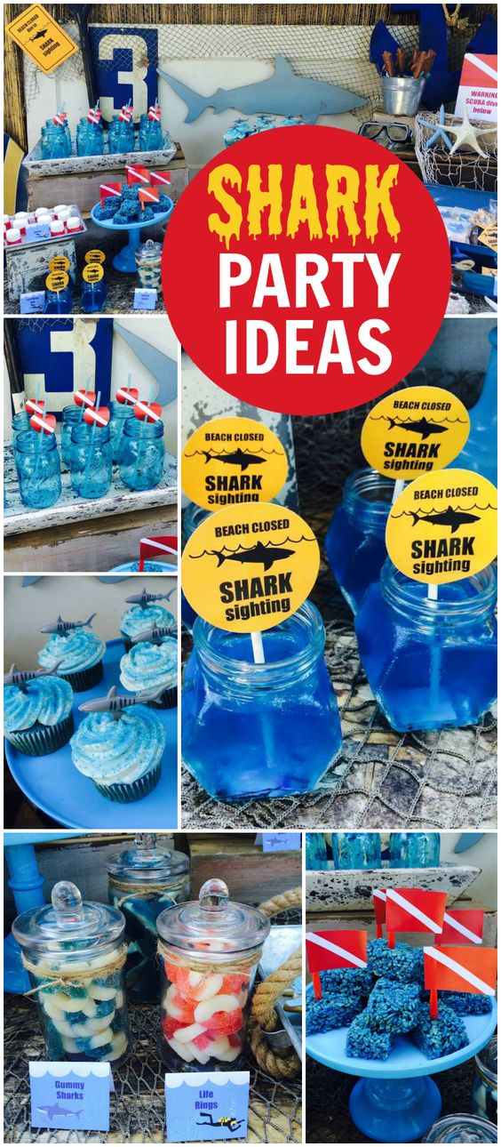 This shark theme is perfect for a pool party! See more party ideas at CatchMyParty.com!