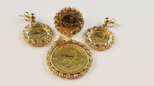 Estate South Africa Krugerrand Fine Gold Coin Jewelry Set Earrings Ring Pendant Gold Coin Jewelry Coin Jewelry Gold Bullion Coins