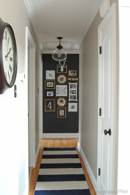 Accent wall at end of hall, link to light at Lowes: