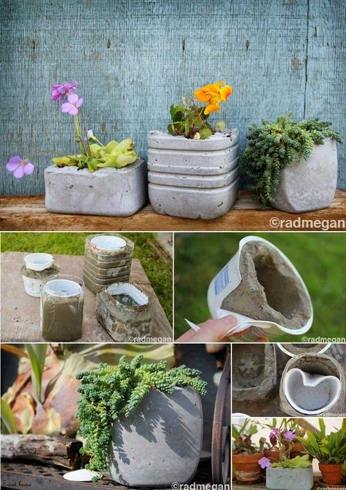 Covering old food containers with concrete to use as planters. Given the wide…