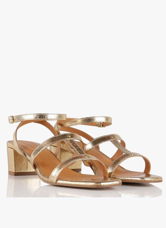 Sandales mi hautes en cuir Doré by RIVECOUR | Cuir doré