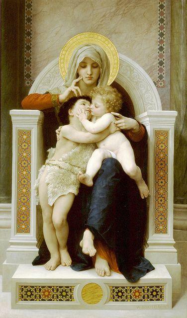 """William-Adolphe Bouguereau """"The Virgin, Jesus & Saint John Baptist"""" 1875"""