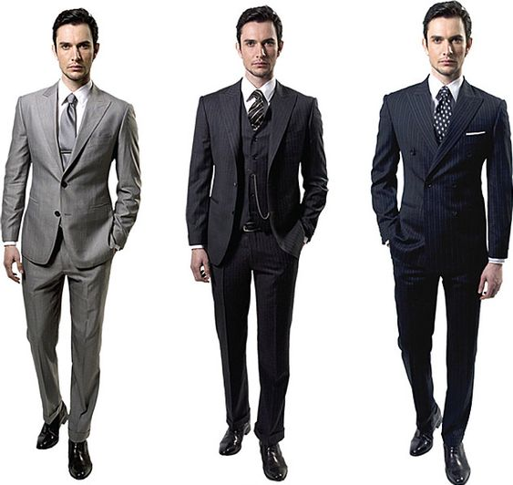 Three impeccably designed suits. The pocket watch adds a nice