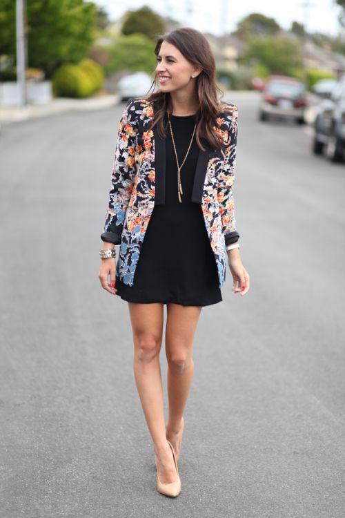 Floral blazer, black, tassel