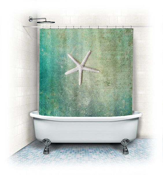 Starfish shower curtains and curtains on pinterest for Summer bathroom decor