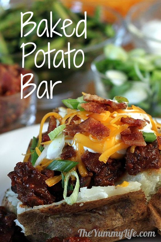 BAKED POTATO BAR for a fun family meal or party buffet. Can potentially be cooked in advanced and then reheated. May be a cheap option.