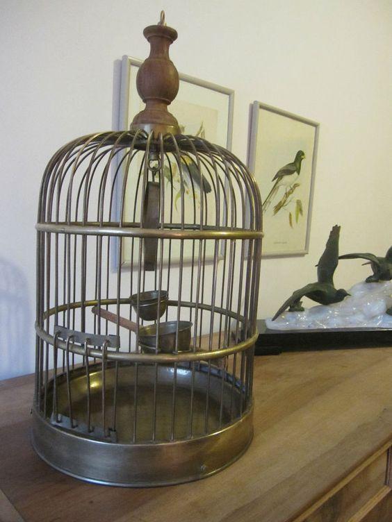 Superbe ancienne cage oiseaux en laiton d co loft bird for Deco cage a oiseaux