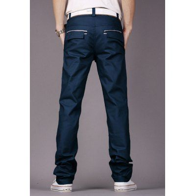 $19.64 (Buy here: http://appdeal.ru/b00y ) Fashion Style Personality Embellished Waist Zipper Fly Solid Color Slimming Straight Leg Men's Cotton Pants for just $19.64