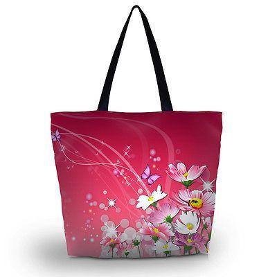 Pink Soft Foldable Tote Women's Shopping Bag Shoulder Carry Bag Lady Handbag C0