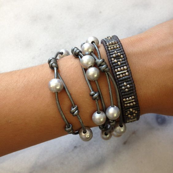 grey leather beaded cuff bracelet and triple wrap on. Black Bedroom Furniture Sets. Home Design Ideas