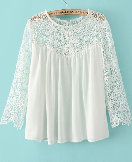 White Contrast Lace Long Sleeve Loose Blouse: